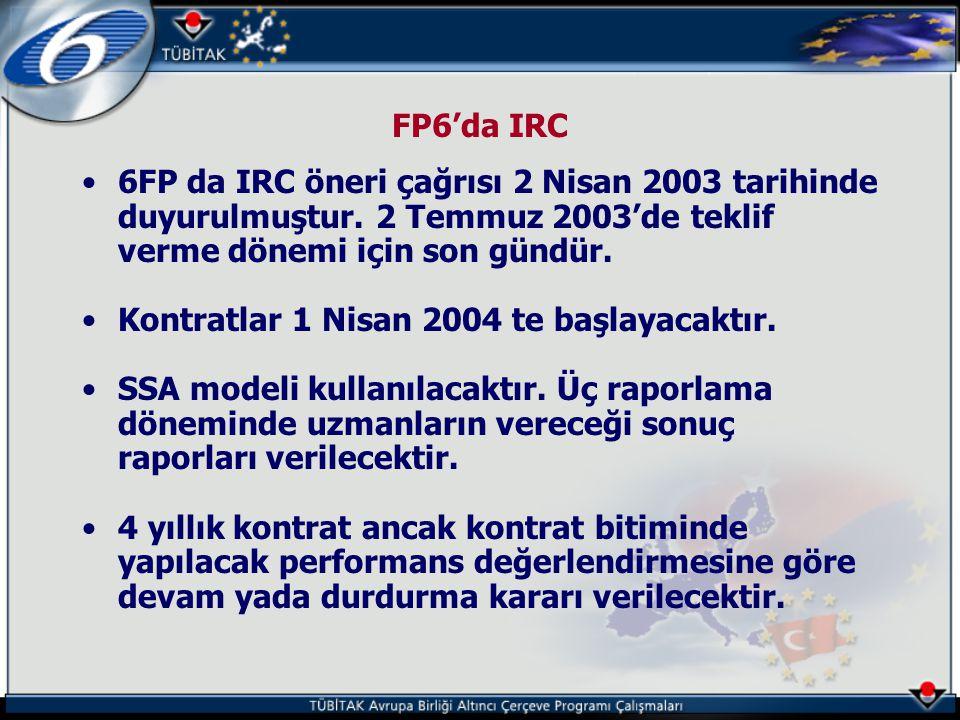 FP6'da IRC •6FP da IRC öneri çağrısı 2 Nisan 2003 tarihinde duyurulmuştur. 2 Temmuz 2003'de teklif verme dönemi için son gündür. •Kontratlar 1 Nisan 2