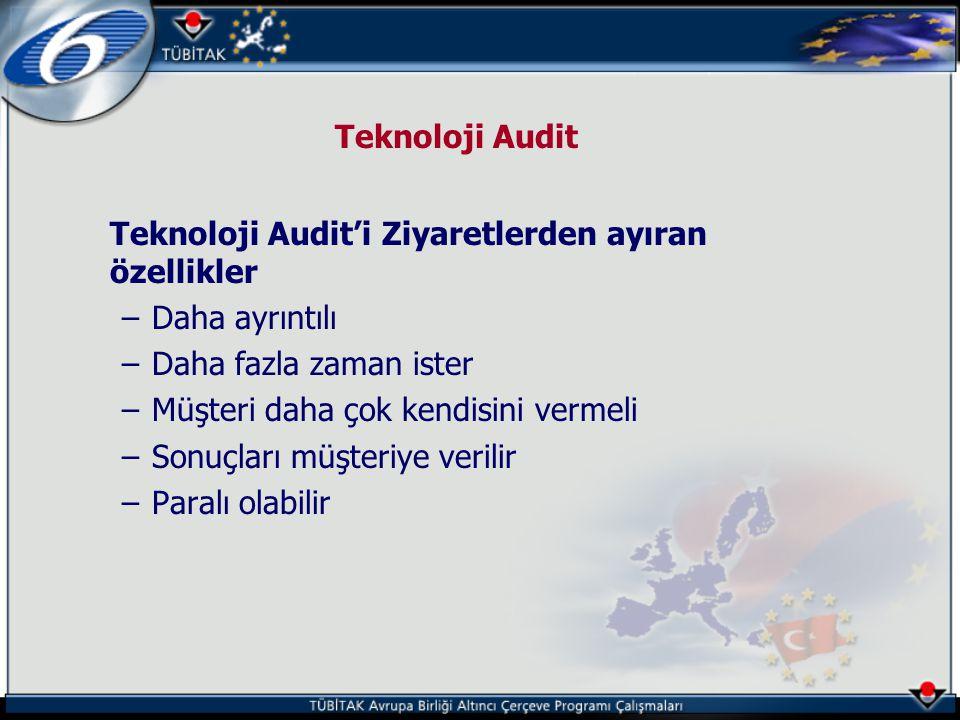 Teknoloji Audit Teknoloji Audit'i Ziyaretlerden ayıran özellikler –Daha ayrıntılı –Daha fazla zaman ister –Müşteri daha çok kendisini vermeli –Sonuçla