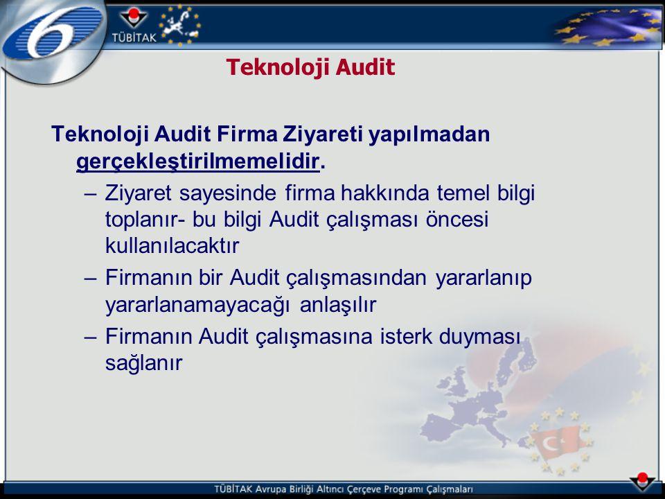 Teknoloji Audit Teknoloji Audit Firma Ziyareti yapılmadan gerçekleştirilmemelidir. –Ziyaret sayesinde firma hakkında temel bilgi toplanır- bu bilgi Au