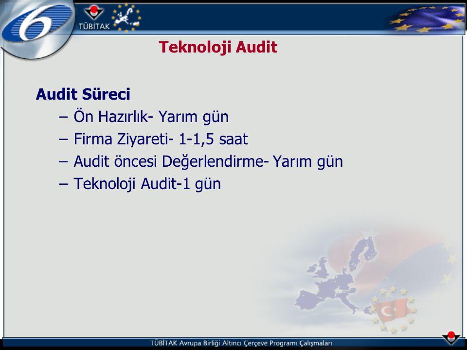 Teknoloji Audit Audit Süreci –Ön Hazırlık- Yarım gün –Firma Ziyareti- 1-1,5 saat –Audit öncesi Değerlendirme- Yarım gün –Teknoloji Audit-1 gün