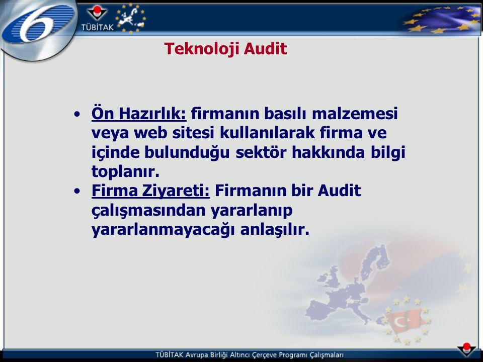Teknoloji Audit •Ön Hazırlık: firmanın basılı malzemesi veya web sitesi kullanılarak firma ve içinde bulunduğu sektör hakkında bilgi toplanır. •Firma