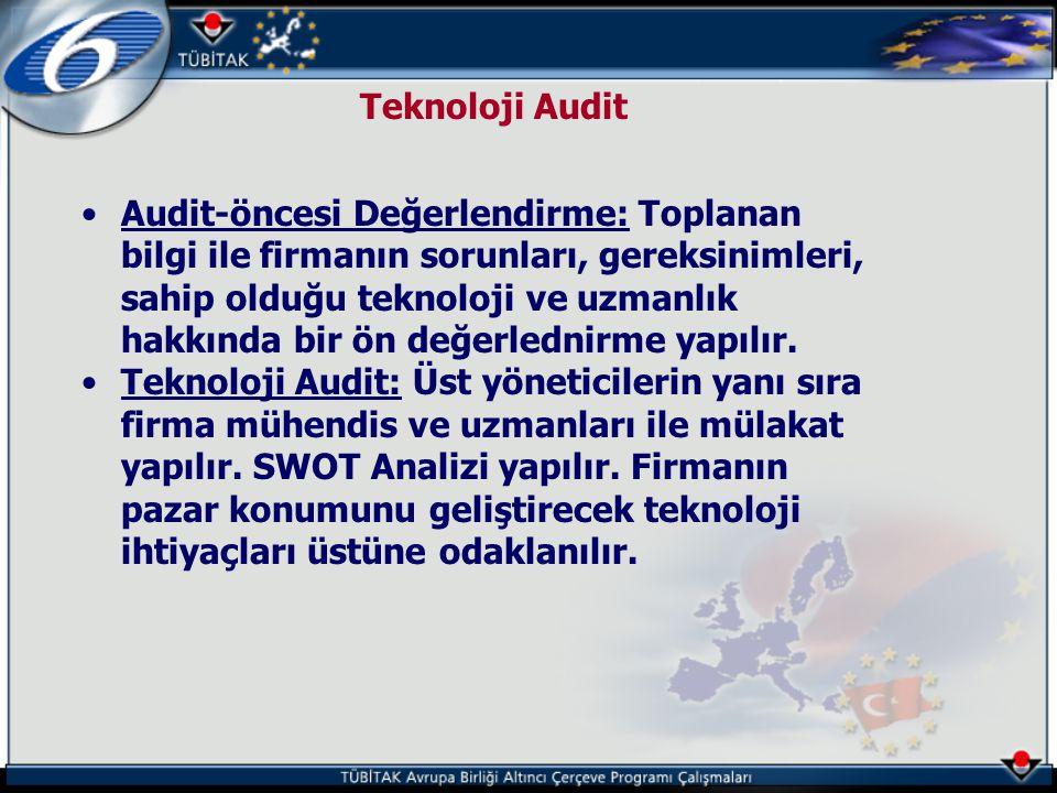 Teknoloji Audit •Audit-öncesi Değerlendirme: Toplanan bilgi ile firmanın sorunları, gereksinimleri, sahip olduğu teknoloji ve uzmanlık hakkında bir ön