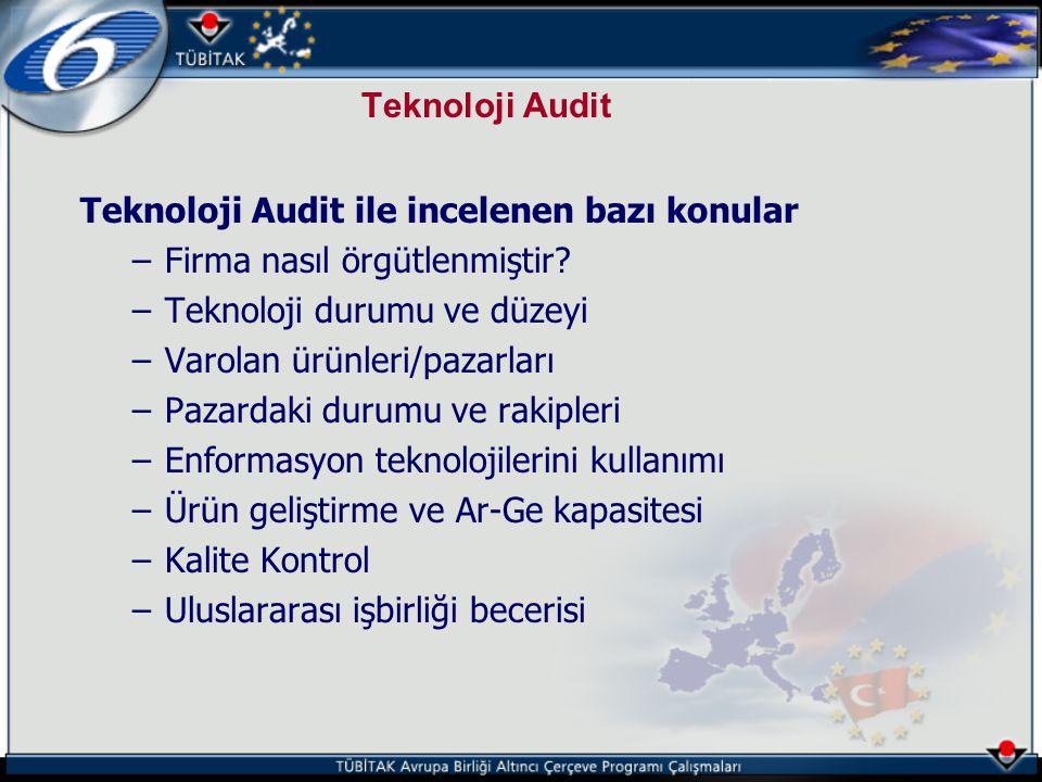 Teknoloji Audit Teknoloji Audit ile incelenen bazı konular –Firma nasıl örgütlenmiştir? –Teknoloji durumu ve düzeyi –Varolan ürünleri/pazarları –Pazar