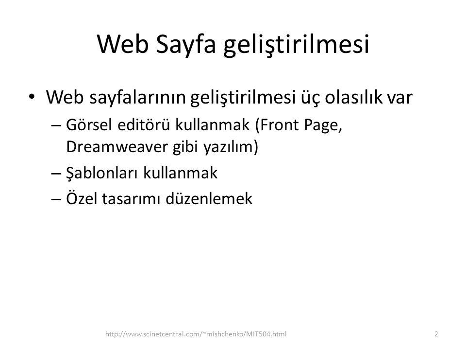 Web Sayfa geliştirilmesi • Web sayfalarının geliştirilmesi üç olasılık var – Görsel editörü kullanmak (Front Page, Dreamweaver gibi yazılım) – Şablonları kullanmak – Özel tasarımı düzenlemek http://www.scinetcentral.com/~mishchenko/MIT504.html2