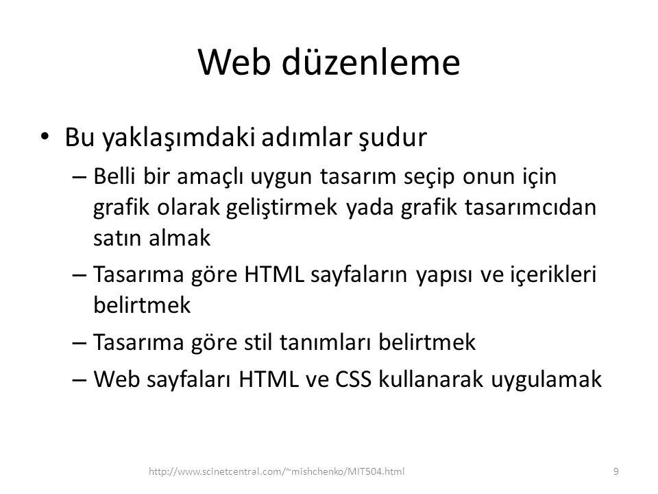 Web düzenleme • Bu yaklaşımdaki adımlar şudur – Belli bir amaçlı uygun tasarım seçip onun için grafik olarak geliştirmek yada grafik tasarımcıdan satın almak – Tasarıma göre HTML sayfaların yapısı ve içerikleri belirtmek – Tasarıma göre stil tanımları belirtmek – Web sayfaları HTML ve CSS kullanarak uygulamak http://www.scinetcentral.com/~mishchenko/MIT504.html9