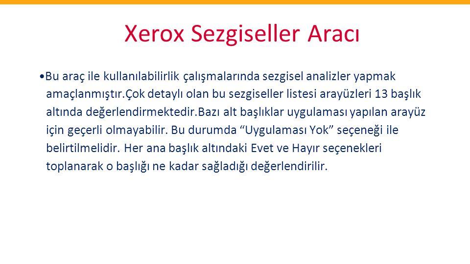 Xerox Sezgiseller Aracı •Bu araç ile kullanılabilirlik çalışmalarında sezgisel analizler yapmak amaçlanmıştır.Çok detaylı olan bu sezgiseller listesi