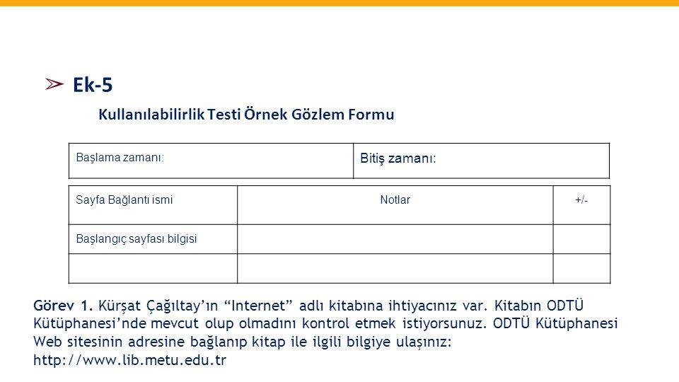 ➢ Ek-5 Kullanılabilirlik Testi Örnek Gözlem Formu Sayfa Bağlantı ismiNotlar+/- Başlangıç sayfası bilgisi Başlama zamanı: Bitiş zamanı: Görev 1. Kürşat