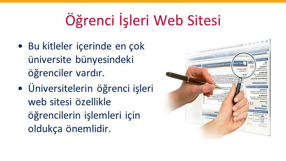Öğrenci İşleri Web Sitesi •Bu kitleler içerinde en çok üniversite bünyesindeki öğrenciler vardır. •Üniversitelerin öğrenci işleri web sitesi özellikle