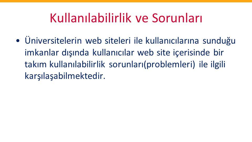 Kullanılabilirlik ve Sorunları •Üniversitelerin web siteleri ile kullanıcılarına sunduğu imkanlar dışında kullanıcılar web site içerisinde bir takım k