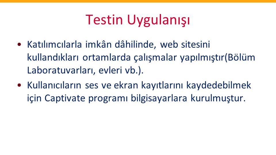 Testin Uygulanışı •Katılımcılarla imkân dâhilinde, web sitesini kullandıkları ortamlarda çalışmalar yapılmıştır(Bölüm Laboratuvarları, evleri vb.). •K