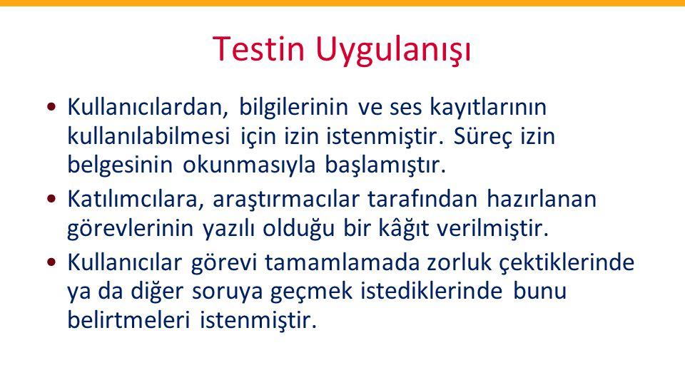 Testin Uygulanışı •Kullanıcılardan, bilgilerinin ve ses kayıtlarının kullanılabilmesi için izin istenmiştir. Süreç izin belgesinin okunmasıyla başlamı