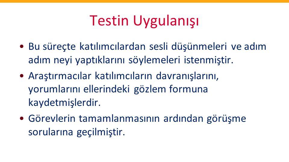 Testin Uygulanışı •Bu süreçte katılımcılardan sesli düşünmeleri ve adım adım neyi yaptıklarını söylemeleri istenmiştir. •Araştırmacılar katılımcıların