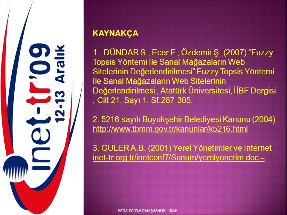 """MEGA EĞİTİM DANIŞMANLIK -UŞAK KAYNAKÇA 1. DÜNDAR S., Ecer F., Özdemir Ş. (2007) """"Fuzzy Topsis Yöntemi İle Sanal Mağazaların Web Sitelerinin Değerlendi"""