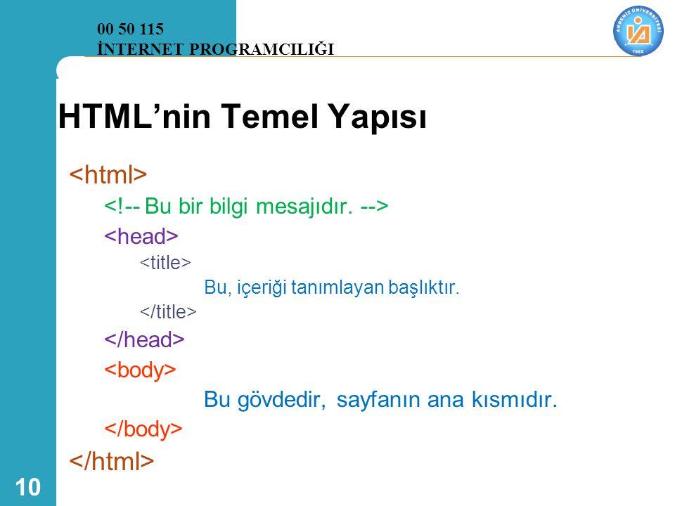 10 HTML'nin Temel Yapısı Bu, içeriği tanımlayan başlıktır. Bu gövdedir, sayfanın ana kısmıdır. 00 50 115 İNTERNET PROGRAMCILIĞI