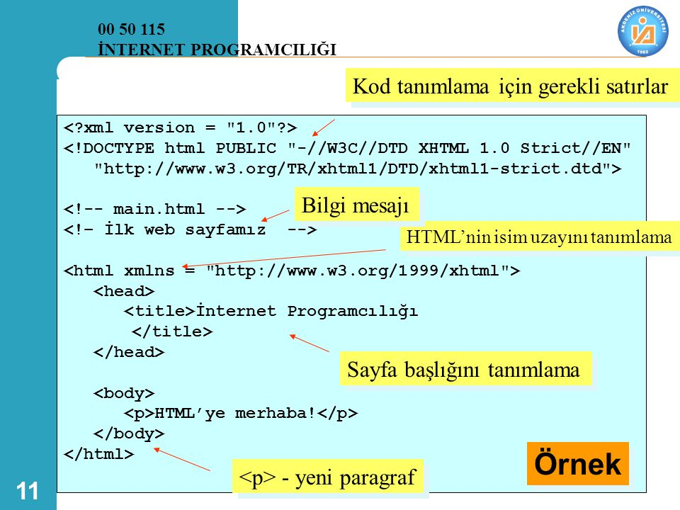 11 <!DOCTYPE html PUBLIC -//W3C//DTD XHTML 1.0 Strict//EN http://www.w3.org/TR/xhtml1/DTD/xhtml1-strict.dtd > İnternet Programcılığı HTML'ye merhaba.
