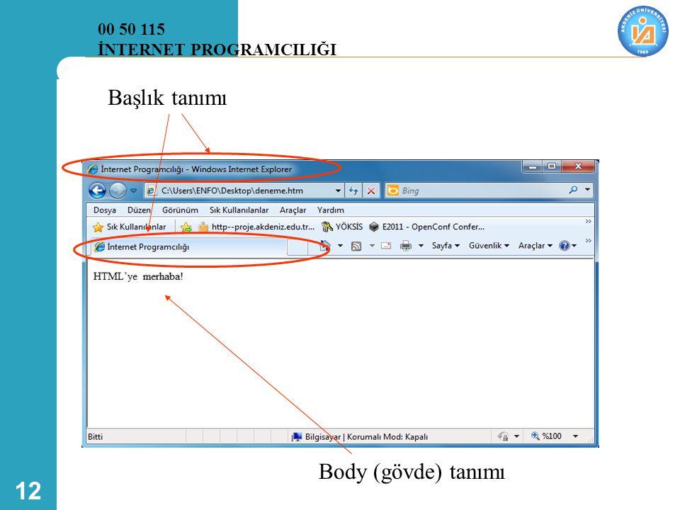 12 Başlık tanımı Body (gövde) tanımı 00 50 115 İNTERNET PROGRAMCILIĞI