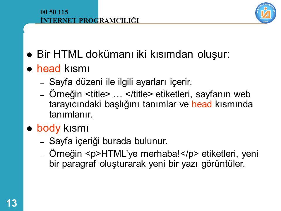 13  Bir HTML dokümanı iki kısımdan oluşur:  head kısmı – Sayfa düzeni ile ilgili ayarları içerir. – Örneğin … etiketleri, sayfanın web tarayıcındaki