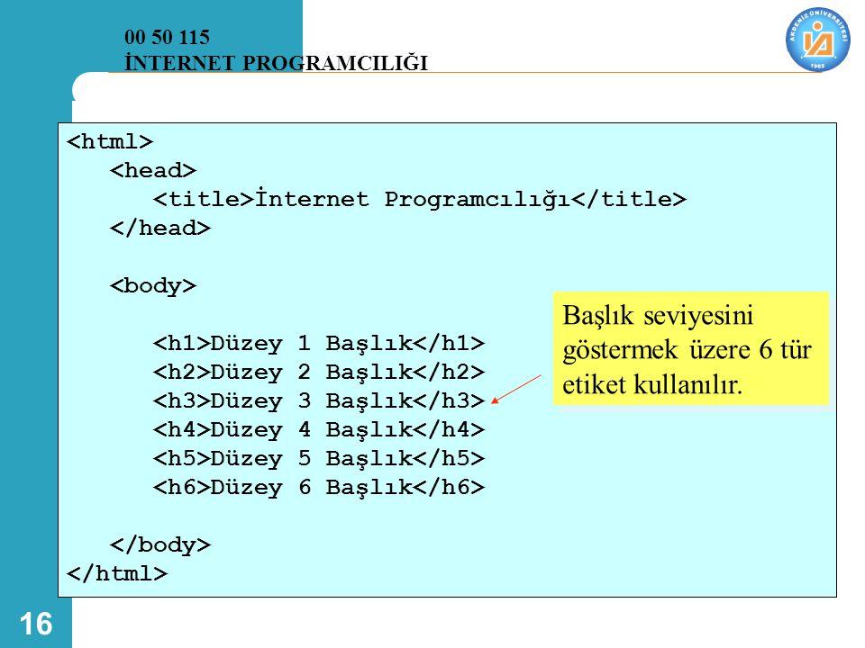 16 İnternet Programcılığı Düzey 1 Başlık Düzey 2 Başlık Düzey 3 Başlık Düzey 4 Başlık Düzey 5 Başlık Düzey 6 Başlık Başlık seviyesini göstermek üzere 6 tür etiket kullanılır.