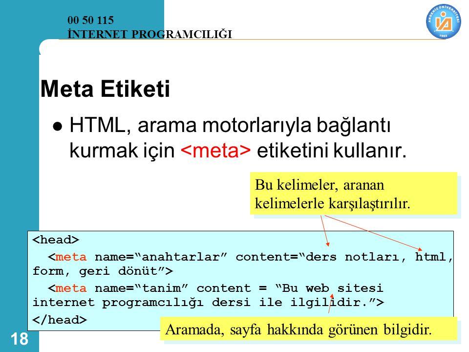 18 Meta Etiketi  HTML, arama motorlarıyla bağlantı kurmak için etiketini kullanır. Bu kelimeler, aranan kelimelerle karşılaştırılır. Aramada, sayfa h