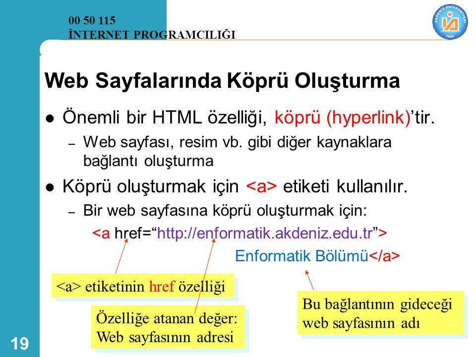 19 Web Sayfalarında Köprü Oluşturma  Önemli bir HTML özelliği, köprü (hyperlink)'tir. – Web sayfası, resim vb. gibi diğer kaynaklara bağlantı oluştur