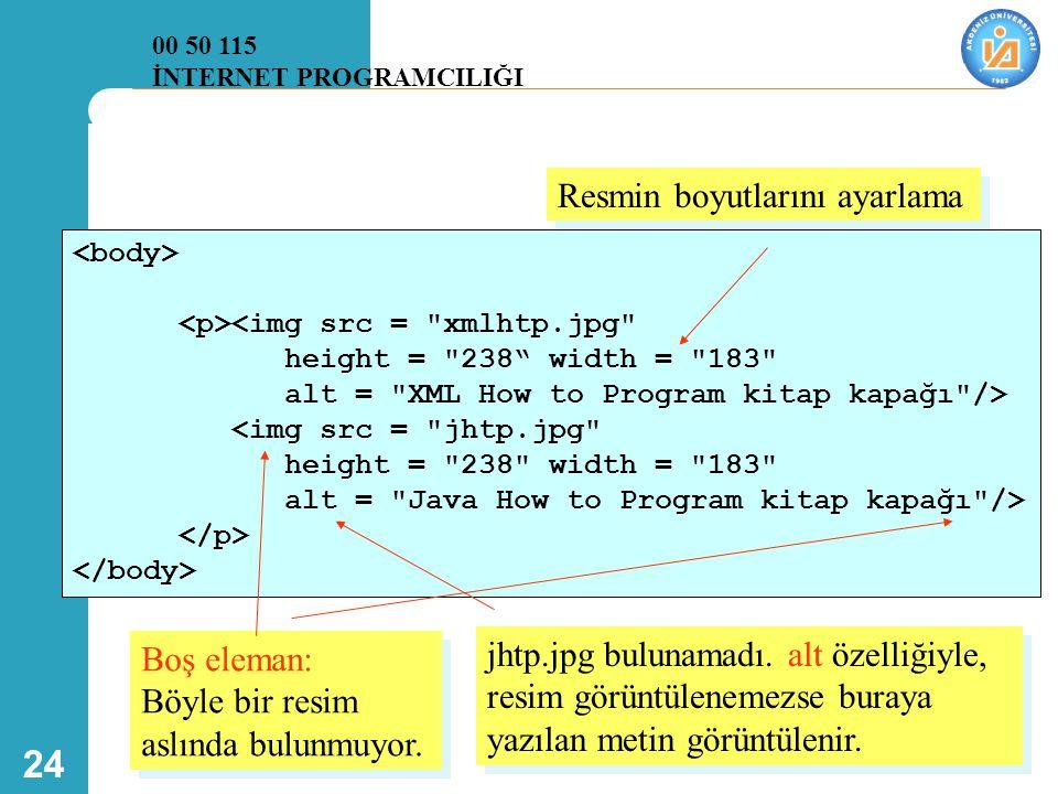 24 <img src = xmlhtp.jpg height = 238 width = 183 alt = XML How to Program kitap kapağı /> <img src = jhtp.jpg height = 238 width = 183 alt = Java How to Program kitap kapağı /> Resmin boyutlarını ayarlama jhtp.jpg bulunamadı.