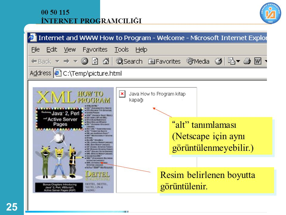 """25 """"alt"""" tanımlaması (Netscape için aynı görüntülenmeyebilir.) Resim belirlenen boyutta görüntülenir. 00 50 115 İNTERNET PROGRAMCILIĞI"""