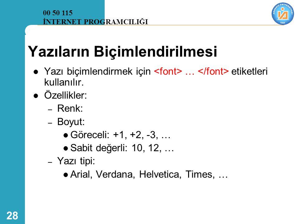 28 Yazıların Biçimlendirilmesi  Yazı biçimlendirmek için … etiketleri kullanılır.  Özellikler: – Renk: – Boyut:  Göreceli: +1, +2, -3, …  Sabit de