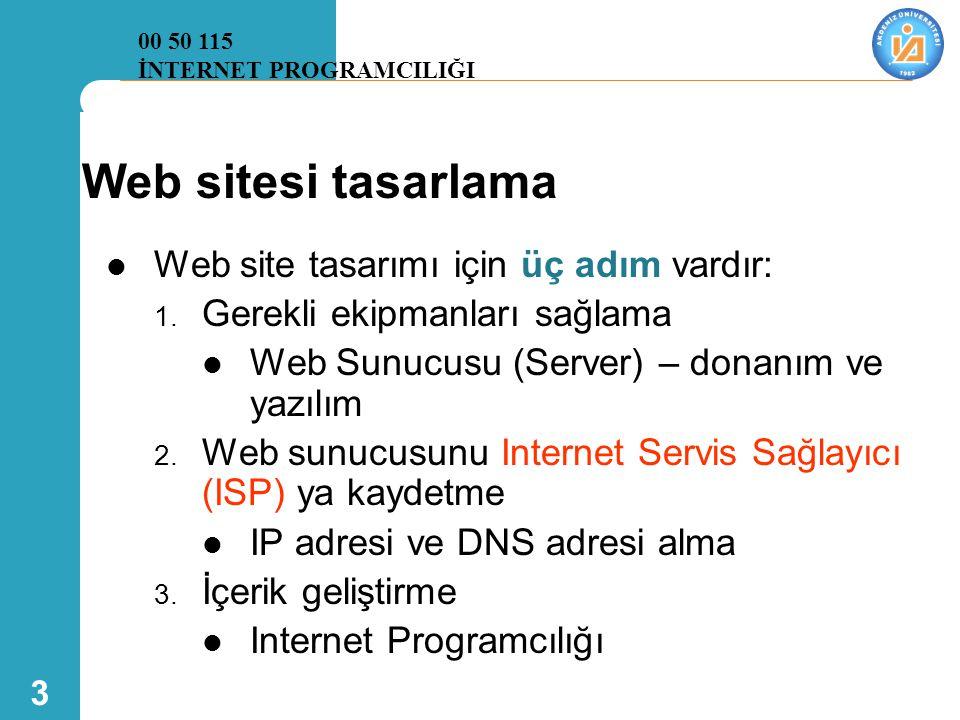 3 Web sitesi tasarlama  Web site tasarımı için üç adım vardır: 1. Gerekli ekipmanları sağlama  Web Sunucusu (Server) – donanım ve yazılım 2. Web sun