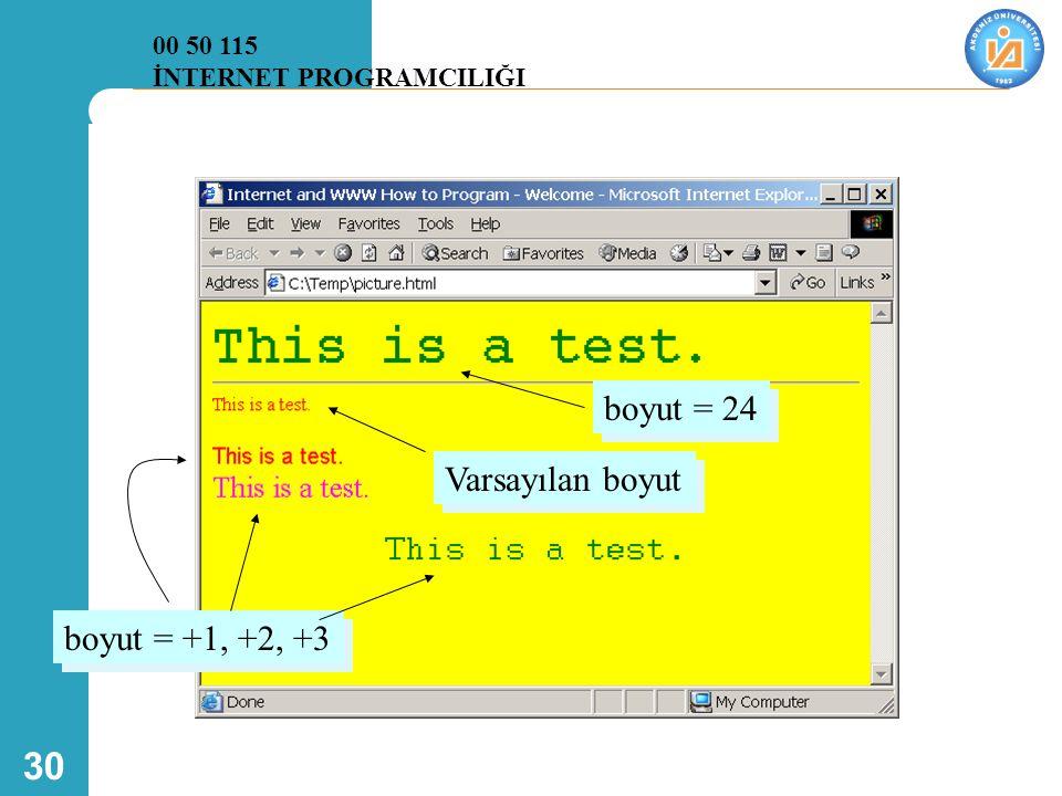 30 Varsayılan boyut boyut = +1, +2, +3 boyut = 24 00 50 115 İNTERNET PROGRAMCILIĞI