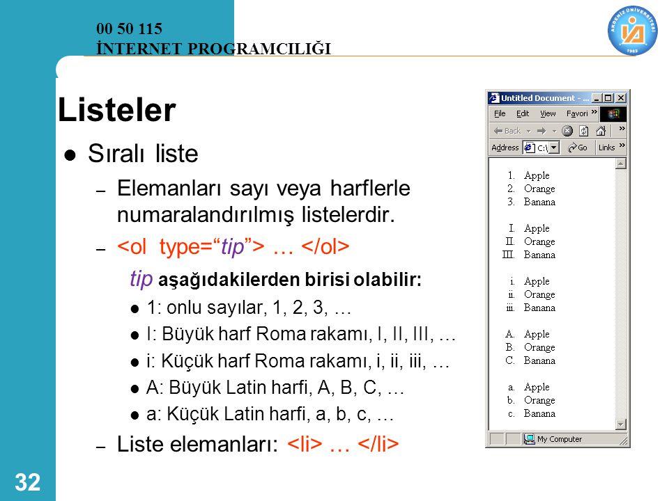 32 Listeler  Sıralı liste – Elemanları sayı veya harflerle numaralandırılmış listelerdir. – … tip aşağıdakilerden birisi olabilir:  1: onlu sayılar,