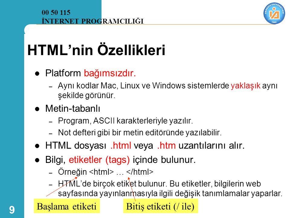 9 HTML'nin Özellikleri  Platform bağımsızdır. – Aynı kodlar Mac, Linux ve Windows sistemlerde yaklaşık aynı şekilde görünür.  Metin-tabanlı – Progra