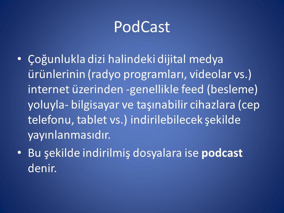 PodCast • Çoğunlukla dizi halindeki dijital medya ürünlerinin (radyo programları, videolar vs.) internet üzerinden -genellikle feed (besleme) yoluyla-