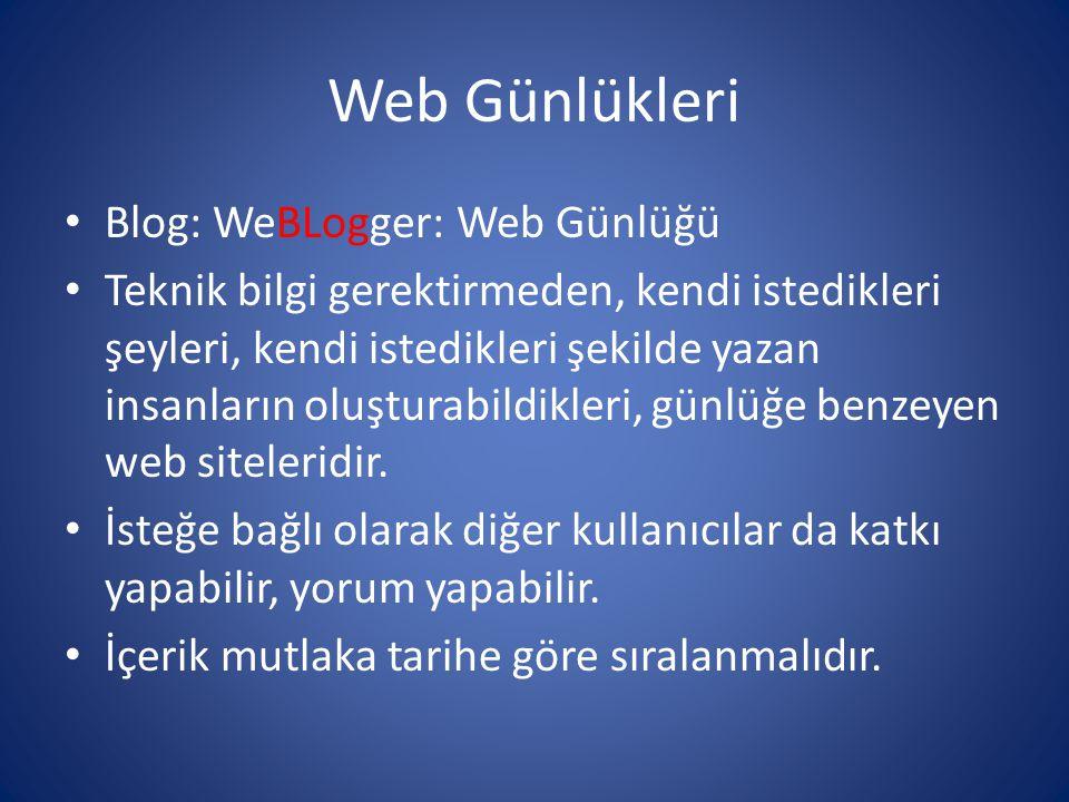 Web Günlükleri • Blog: WeBLogger: Web Günlüğü • Teknik bilgi gerektirmeden, kendi istedikleri şeyleri, kendi istedikleri şekilde yazan insanların oluş