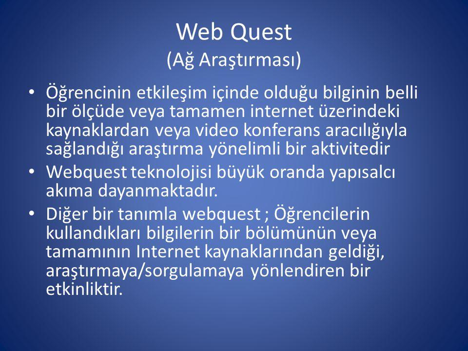 Web Quest (Ağ Araştırması) • Öğrencinin etkileşim içinde olduğu bilginin belli bir ölçüde veya tamamen internet üzerindeki kaynaklardan veya video kon
