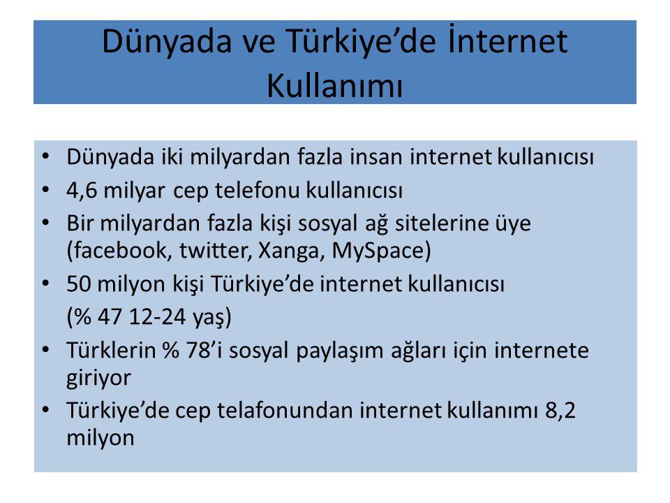 Dünyada ve Türkiye'de İnternet Kullanımı • Dünyada iki milyardan fazla insan internet kullanıcısı • 4,6 milyar cep telefonu kullanıcısı • Bir milyarda
