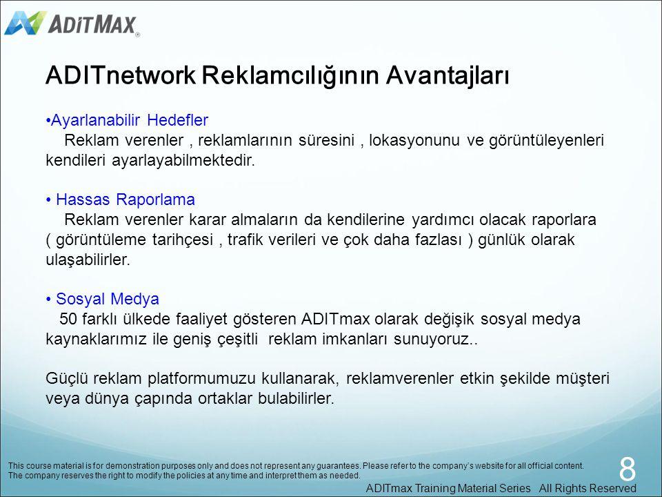 Şu anda, 50'den fazla ülke ve bölgede merkezlenmiş olan ADITmax bünyesinde 100.000 'den fazla kayıtlı kullanıcı ve distribütör bulunmaktadır. Web site