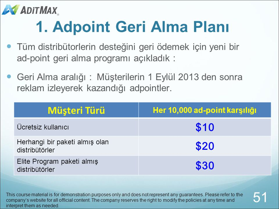 Teşviklerin Serisi This course material is for demonstration purposes only and does not represent any guarantees. Please refer to the company's websit