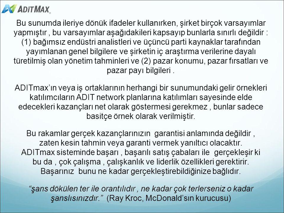 ADITmax Yasal Uyarı ve İleriye Dönük Bildirimler Bu ders materyali gösterim amaçlıdır ve herhangi bir garanti temsil etmez. Şirket herhangi bir zamand