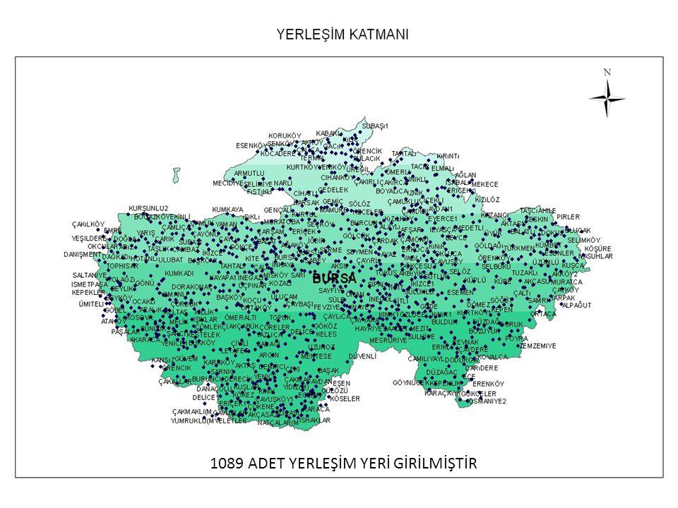 1089 ADET YERLEŞİM YERİ GİRİLMİŞTİR