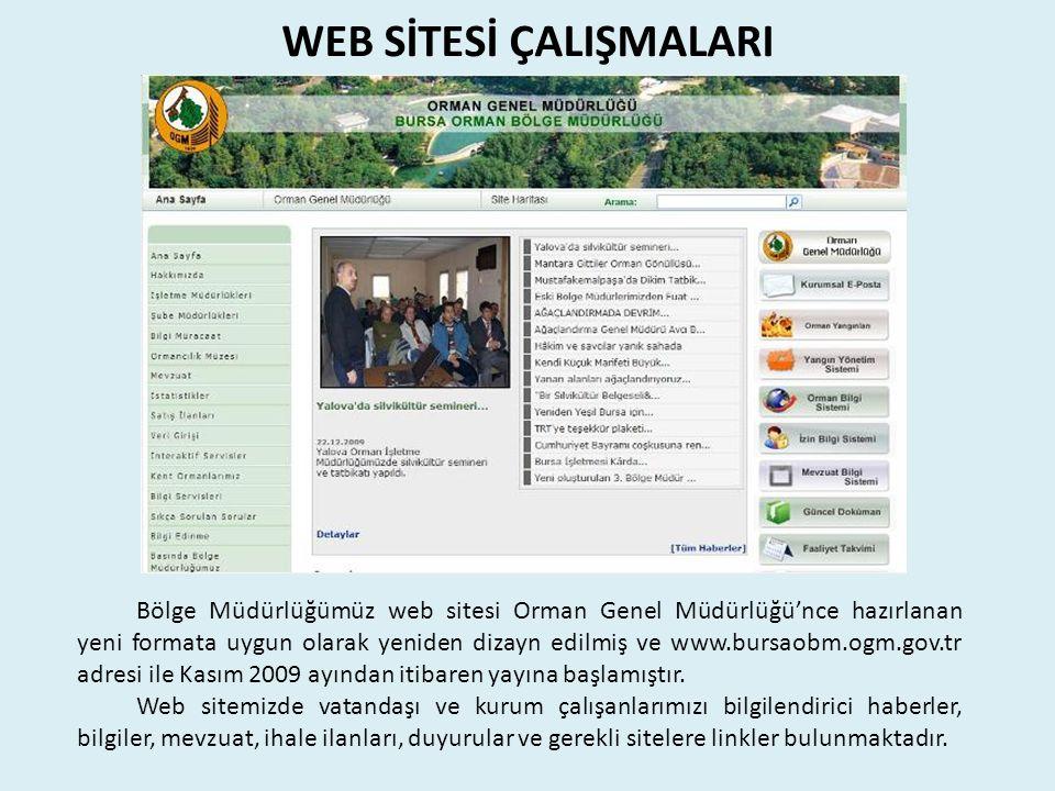 WEB SİTESİ ÇALIŞMALARI Bölge Müdürlüğümüz web sitesi Orman Genel Müdürlüğü'nce hazırlanan yeni formata uygun olarak yeniden dizayn edilmiş ve www.bursaobm.ogm.gov.tr adresi ile Kasım 2009 ayından itibaren yayına başlamıştır.