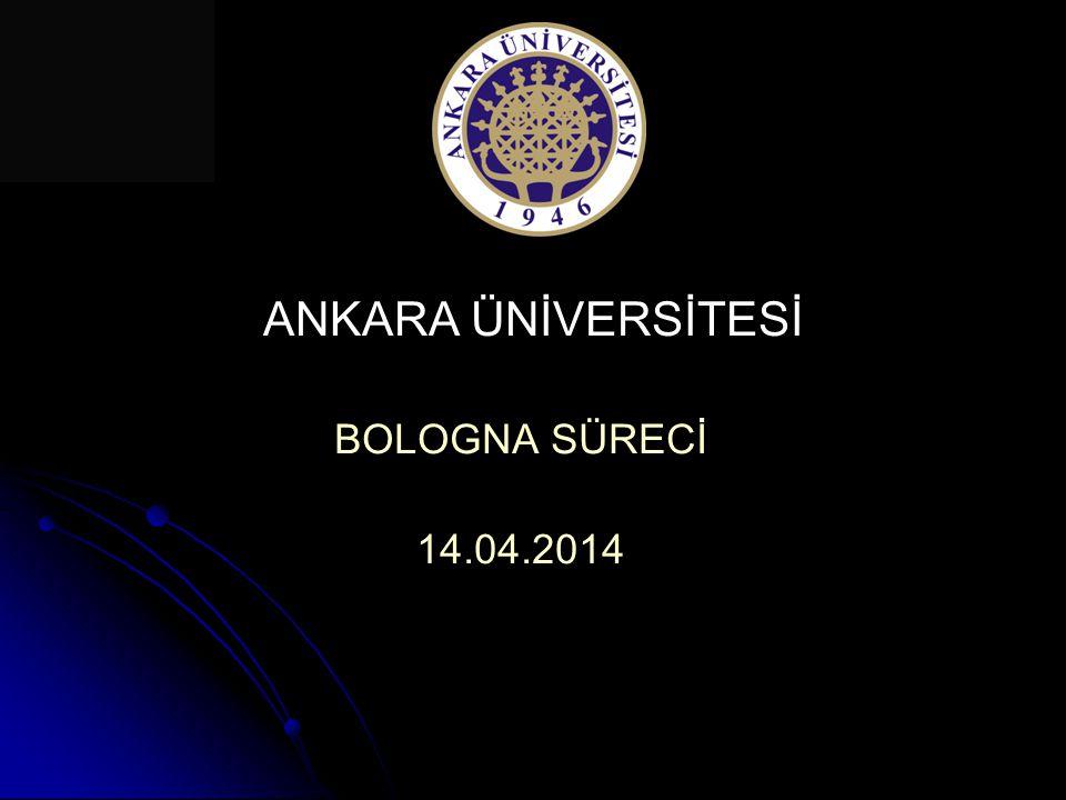 ANKARA ÜNİVERSİTESİ BOLOGNA SÜRECİ Amaç: Ankara Üniversitesi'nde; eğitim-öğretim sistemlerinin farklılıklarını ve özgünlüklerini koruyarak, toplumun ihtiyaçlarını karşılayan, ulusal ve uluslararası normlara uygun, kolay anlaşılabilir ve karşılaştırılabilir bir öğretim sistemi oluşturulabilmesidir.