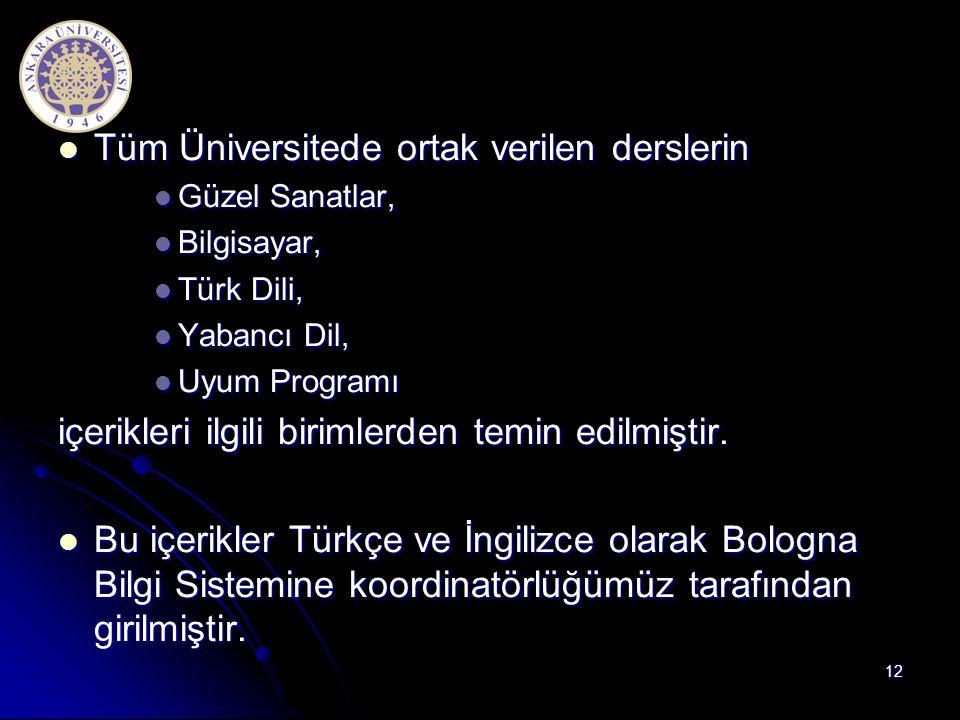  Tüm Üniversitede ortak verilen derslerin  Güzel Sanatlar,  Bilgisayar,  Türk Dili,  Yabancı Dil,  Uyum Programı içerikleri ilgili birimlerden t