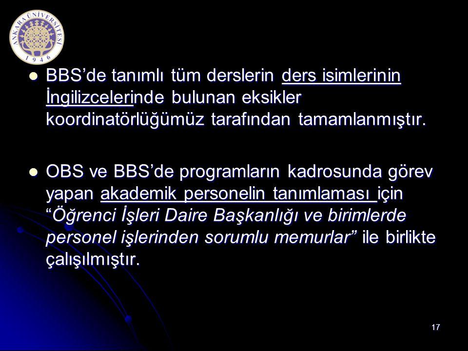  BBS'de tanımlı tüm derslerin ders isimlerinin İngilizcelerinde bulunan eksikler koordinatörlüğümüz tarafından tamamlanmıştır.  OBS ve BBS'de progra