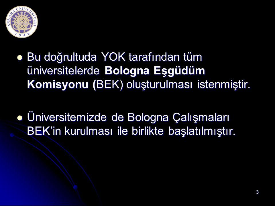  Bu doğrultuda YOK tarafından tüm üniversitelerde Bologna Eşgüdüm Komisyonu (BEK) oluşturulması istenmiştir.  Üniversitemizde de Bologna Çalışmaları