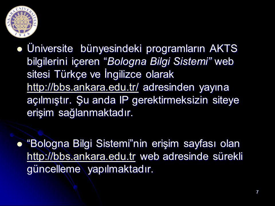 """ Üniversite bünyesindeki programların AKTS bilgilerini içeren """"Bologna Bilgi Sistemi"""" web sitesi Türkçe ve İngilizce olarak http://bbs.ankara.edu.tr/"""