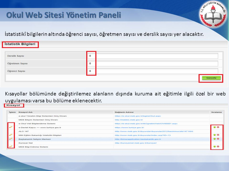 Okul Web Sitesi Yönetim Paneli Kısayollar bölümünde değiştirilemez alanların dışında kuruma ait eğitimle ilgili özel bir web uygulaması varsa bu bölüm