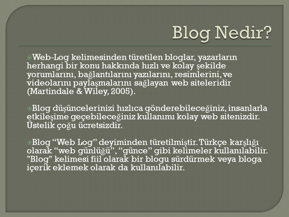  Web-Log kelimesinden türetilen bloglar, yazarların herhangi bir konu hakkında hızlı ve kolay ş ekilde yorumlarını, ba ğ lantılarını yazılarını, resimlerini, ve videolarını payla ş malarını sa ğ layan web siteleridir (Martindale & Wiley, 2005).