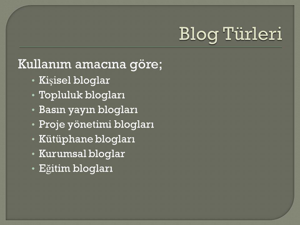 Kullanım amacına göre; • Ki ş isel bloglar • Topluluk blogları • Basın yayın blogları • Proje yönetimi blogları • Kütüphane blogları • Kurumsal bloglar • E ğ itim blogları