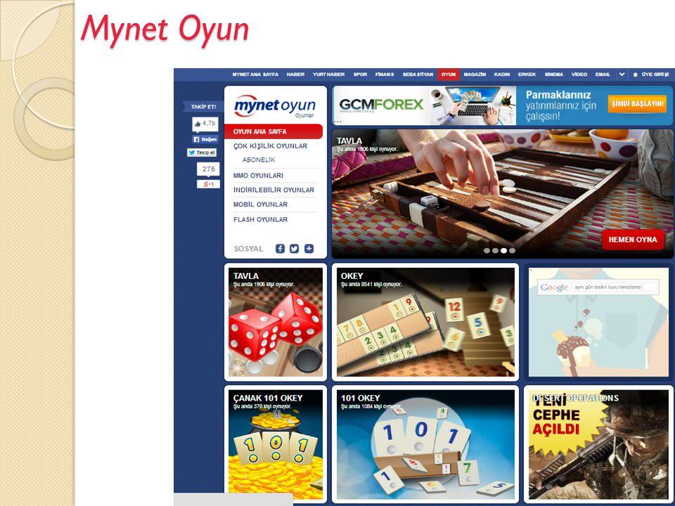 Mynet Oyun  Mynet Oyun mynet Tarafından Geliştirilen servistir.