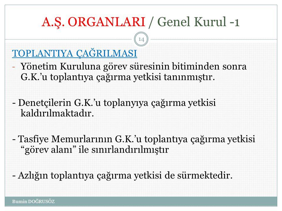 A.Ş. ORGANLARI / Genel Kurul -1 TOPLANTIYA ÇAĞRILMASI - Yönetim Kuruluna görev süresinin bitiminden sonra G.K.'u toplantıya çağırma yetkisi tanınmıştı